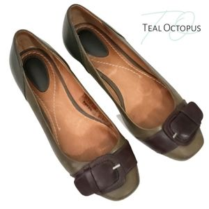 FOSSIL FLATS BALLET GREEN BROWN BUCKLE 6 LEATHER
